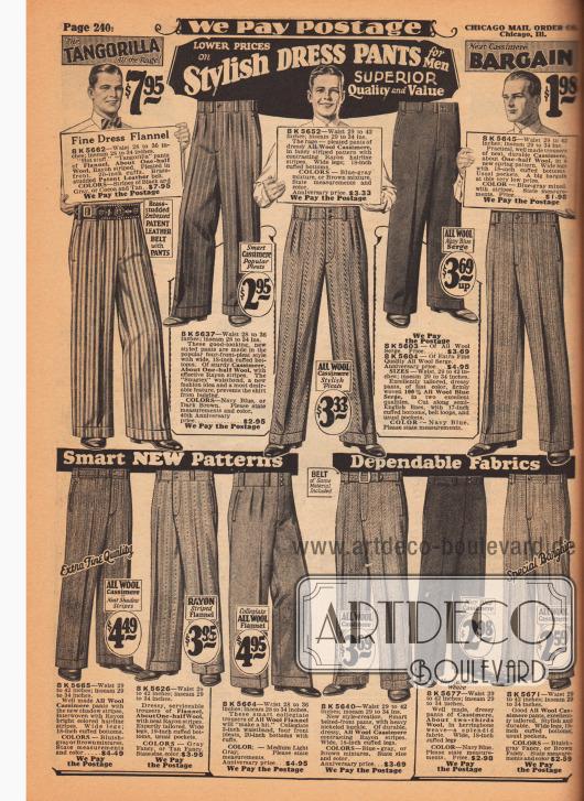 """""""Modische Anzughosen für Männer"""" (engl. """"Sylish Dress Pants for Men""""). Die elf Anzughosen und Bundfaltenhosen sind aus Woll-Flanell, Woll-Kaschmir und Woll-Serge. Die Hosenaufschläge haben eine Weite von 17 bis 20 Inch (43,2 bis 50,8 cm). Besonders extravagant ist das Modell """"Tangorilla"""" oben links in auffälliger Streifenmusterung. Zu der Hose gehört ein Lackleder-Gürtel mit eingestanzten Nieten und Metall-Gürtelschnalle."""
