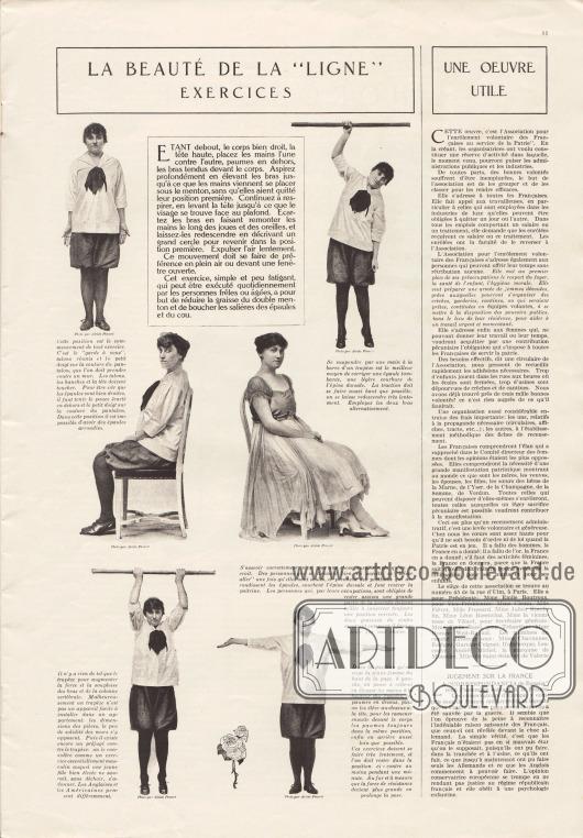 """Artikel: O. V., La Beauté de la """"Ligne"""". Exercices; o. V., Une Œuvre Utile; o. V., Jugement sur la France. Fotos: Alcide Pinard (Lebensdaten unbekannt)."""