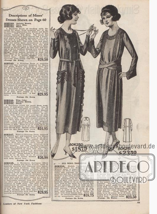 Einfache und hübsche Tageskleider für 18,75 bis 23,50 Dollar für jugendliche Frauen im Alter von 14 bis 20 Jahren oder Damen mit kleinen Konfektionsgrößen. 80K250: Marineblaues Kleid aus Woll-Trikotine. Ein dem Rock angeschnittenes Frontpanel greift über das Oberteil. Paneel mit reicher Stickerei aus schwarzer Seide. Beidseitig des Rocks mit Kleidstoff bezogene, große Knöpfe. 80K251 / 80K252 / 80K253: Einfaches, glattes Kleid aus Woll-Velours, bestellbar in hellem Rentierbraun, Kopenhagen Blau oder Newport Grün. Modell mit gekreuztem Stoffgürtel. Bortenartige Stickerei in voller Kleidlänge vorne und hinten. Gleiche Stickerei umrahmt den Halsausschnitt, die Armlöcher und die seltsam geformten Manschetten an den Unterärmeln. Seitlicher Kleidschluß.