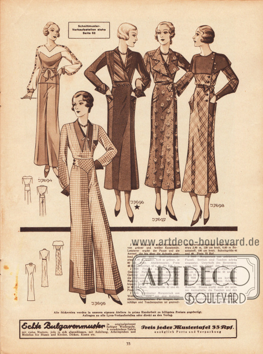 7694: Pyjama in einer Kombination von grüner und weißer Kunstseide. Letzterer ergibt die Passe und die Ärmel, die bis über die Achseln greifend bestickt sind. 7695: Pyjama aus kleinkariertem Gminder Halbleinen mit einfarbiger Garnitur und passenden Blenden. Für die Hüftpasse und Brusttasche ist das Material schräg verarbeitet. 7696: Kleidsamer Morgenrock aus Wollflausch, vorn mit drei Knöpfen übereinandergehalten. Für Kragen, Aufschläge und Taschenpatten ist gestreiftes Material verwendet. 7697: Morgenrock aus geblümtem Flanell. Seitlich sind Taschen schräg eingesetzt. Unterhalb des Reverskragens hält ein Gürtel den Morgenrock zusammen. 7698: Morgenrock aus kariertem Baumwollstoff mit großem Schulterkragen aus gleichartigem einfarbigem Material. Dieses ergibt auch die unteren Ärmelteile, die Taschen und den linksseitlichen gebundenen Gürtel.