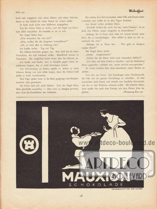 Artikel:Jung, Hans, Der Bräutigam auf Probe.Werbung:Mauxion Schokolade, handgeschnitten von Klinge.