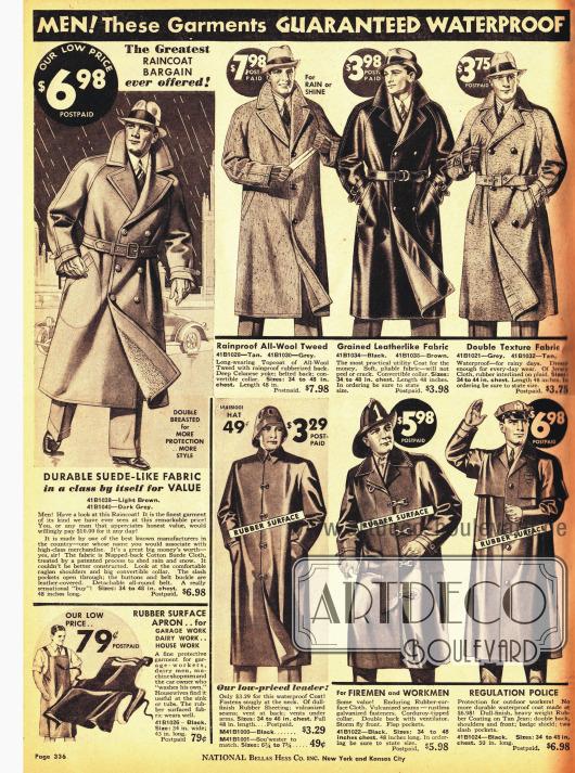 Regenmäntel für Männer. Auch für Polizisten und Feuerwehrleute sind hier Regenmäntel im Angebot (unten).