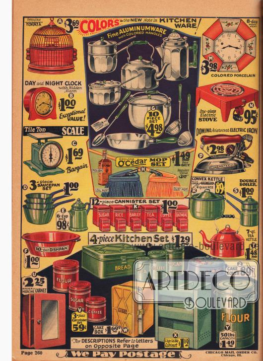 Farbseite mit einem Vogelkäfig für Kanarienvögel (A), einer Uhr mit Alarm (B), einer Küchenwaage (C), drei Kasserollen (D), einer Kaffeekanne aus Emaille (E), einer Metallwanne zum Geschirrabwaschen (F), einem zehnteiligen Küchenset aus Aluminium bestehend aus Wasserkessel, Teekessel, Kaffeekanne, Panne, Schöpfkelle, Siebkelle, Pfannenwender, Gemüselöffel und zwei Kasserollen mit Deckel (G), einem Schrubber-Set mit Politur (H), Küchenbehältern (K), einem Blechbüchsen-Set für die Küche (L), einer Wanduhr (M), einer elektrischen Herdplatte (N), einem elektrischen Bügeleisen (P), einem Kochkessel aus Emaille (R), einem Bain-Marie Kochtopf (Doppelkochtopf mit Wasserbad, S), einem Teekessel aus Metall (T), einem Medizinschrank für Küche oder Bad aus Emaille (U), Dosen für die Küche (V), einer Kuchenbox aus emailliertem Metall (W), einem offenen Wandschrank mit Perforationen aus Metall für Obst und Gemüse (X), einer 50 Pfund Mehlbox aus Metall (1 lbs. Entspricht ca. 22,7 kg, Y) sowie einer Kuchenabdeckung aus Metall mit Blumendekor (Z).