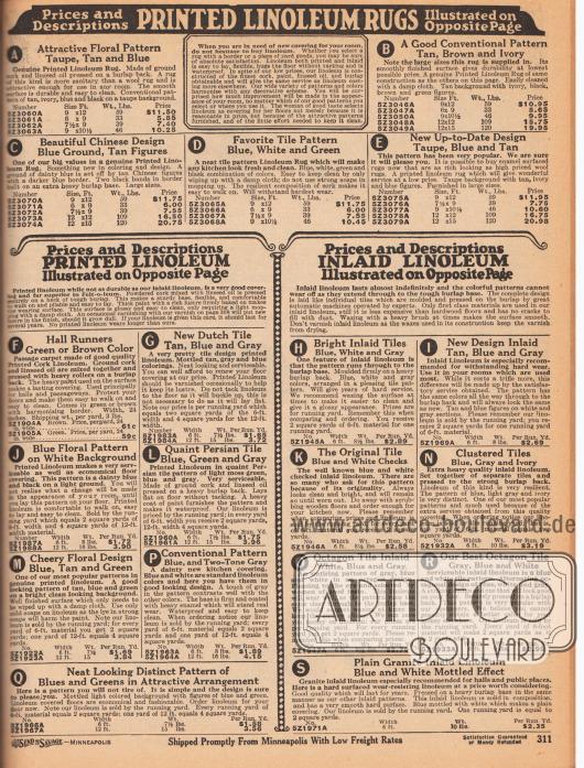 Auf dieser Seite sind die Beschreibungen der gegenüberliegenden Farbseite 310 für die Linoleum-Teppiche und Bodenbeläge zu finden.