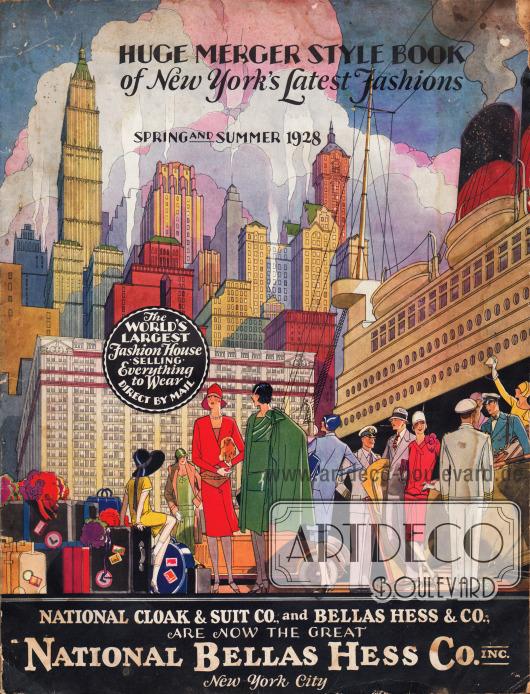 Cover des Frühjahr/Sommer Versandhauskatalogs der Firma National Bellas Hess Inc. von 1928.Es ist der zweite Katalog der Firma National Bellas Hess Inc. nach der Fusion der Firmen Bellas Hess & Co. und National Cloak & Suit Co. im Sommer 1927.