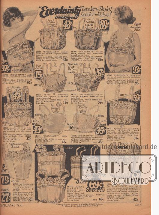 """""""Camisoles"""" (Damenuntertaillen), """"slip-over corset covers"""" (kurze Hemdchen zum Tragen über dem Korsett), """"bust confiners"""" (die Vorläufer der modernen Büstenhalter) und """"brassieres"""" (Büstenhalter). Viele """"camisoles"""" und """"bust confiners"""" besitzen ein eingenähtes elastisches Band unterhalb der Brüste, um einen festen Sitz zu gewährleisten. Die Unterwäsche besteht aus Satin, Musselin, Nainsook (eine Art Baumwollstoff), Baumwollmischstoffen und besitzen Verzierungen aus Spitzenstoffen oder Stickereien. Die vorrangigen Farben sind Weiß und Rosa."""