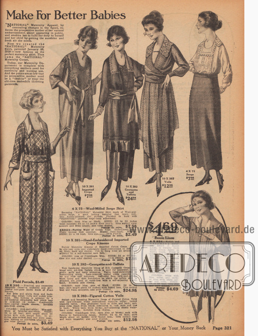 """Mutterschaftskleidung, """"gemacht für bessere Babys"""". Die werdende Mutter kann sich hier Kleider, Negligees, Kimonos, Röcke oder auch einen Kasack kaufen."""