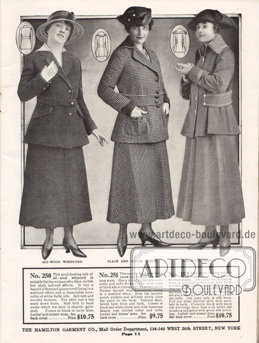 Drei günstige Damenkostüme aus Woll-Whipcord, schwarz-weiß kariertem Baumwollmischstoff und Woll-Popeline.Das erste Modell ist recht schlicht und glatt gehalten und zeigt einen weißen Überkragen aus Faille-Seide. Diese ist auch die Grundlage des Kragens und der Ärmelaufschläge des folgenden Kostüms. Die Kostümjacke zeigt kleine, aufgesetzte Beuteltaschen. Die Jacke des letzten Modells präsentiert mehrere Reihen von Ziernähten an Kragen, Ärmeln und den halben, seitlichen Gurten. Die Gurte halten die Weite der Jacke zusammen und erzeugen tiefe Schoßfalten.