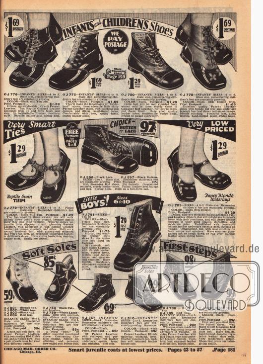 Schuhe mit flachen Sohlen aus Lack- und Rauledern für Mädchen und Jungen bis 4 Jahre. Im unteren ersten Bilddrittel befinden sich die ersten Laufschuhe für Babys und Kleinkinder mit weichen, dünnen Sohlen.