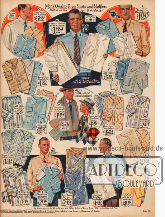 Anzughemden aus Seidenstoffen wie Crêpe de Chine und Seiden-Satin, sowie aus Breitgewebe (Baumwolle). Einige der Modelle erhalten ihre Musterung durch eingewebte Rayonfäden.Die Auswahl besteht aus Hemden mit und ohne Kragen. Die vorherrschenden Hemdfarben sind Weiß, Blau und Hellbraun.Im Zentrum des Bildes werden dicke Schals aus Woll-Kaschmire und aus einem Seiden-Rayon-Mischstoff angeboten.