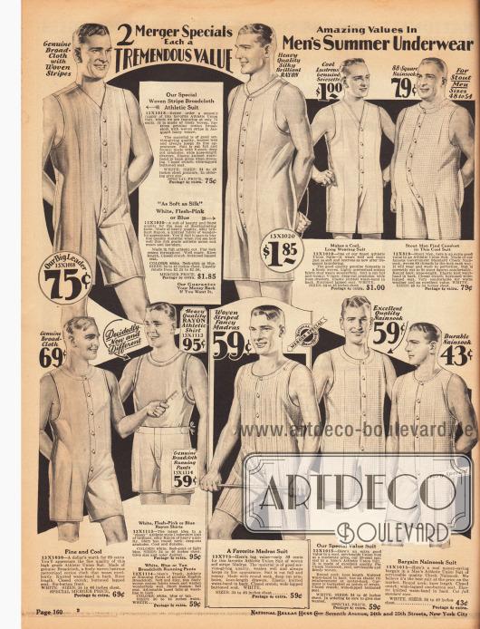 """Ärmellose Unterwäsche mit kurzen Beinen und Hemdhosen für Männer für warme Sommertage aus gestreiftem Breitgewebe, Rayon-Seide, merzerisierter Baumwolle, Nainsook (leichtes, dünnes Musselin) und Madras (leichter Baumwollstoff). Die """"sportlichen Hemdhosen"""" (engl. """"Athletic Union Suits"""") zeigen in der Front eine Knopfleiste zum bequemen Anziehen. Unten links wird auch ein Unterhemd aus Rayon und eine Shorts aus Breitgewebe angeboten."""