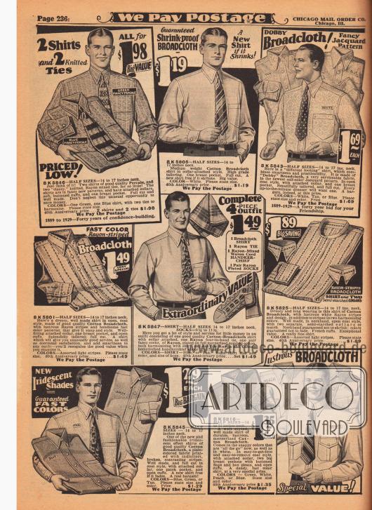 Herren-Anzughemden aus unifarbenen und gemusterten Geweben wie Perkal und Baumwoll-Breitgewebe. Die Hemden besitzen eine Brusttasche und werden fast ausschließlich mit angenähtem Kragen geliefert – ein Modell noch mit zwei anknöpfbaren Wechselkragen. In der Mitte wird ein vierteiliges Set bestehend aus Hemd, Krawatte, Stofftaschentuch und Socken aus Rayon für 1,49 Dollar angeboten.