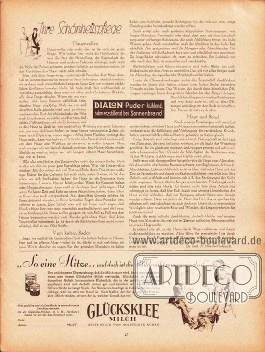 Artikel: Hirsch-Matzdorff, Dr. med. A., Ihre Schönheitspflege (Dauerwellen, Vom kalten Baden, Haut und Beruf). Werbung: Glücksklee Milch, sterilisierte Dosen-Milch.