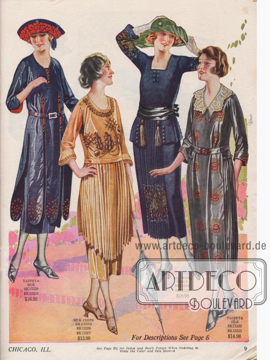 Doppelseite mit Kleidern aus Seiden-Georgette, Seiden-Taft, Seiden Crêpe de Chine und Woll-Serge. Alle Kleider weisen reiche Stickereien oder Ziernähte an den Front- und Brustseiten oder an den Ärmelaufschlägen auf. Zwei Modelle sind mit Spitze garniert. Plissierte Rockteile und Paneele sowie dreiviertellange Ärmel sind charakteristisch für die meisten Kleider.