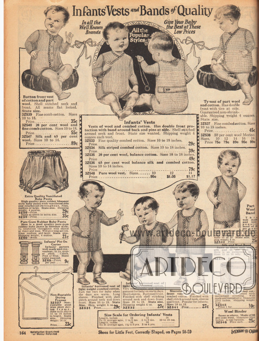 """""""Baby-Westchen und Qualitätsbauchbinden"""" (engl. """"Infants Vests and Bands of Quality"""").Westen und Strampler aus Wolle und Baumwolle sowie aus gekämmter Baumwolle. Die Stoffe sind gerippt und die Strampelanzüge werden über Knopfleisten in der Front geschlossen. Des Weiteren werden atmungsaktive Babyhöschen, Strumpfbänder, Drahtrahmen zum Trocknen von Babywäsche und gewebte Bauchbinden offeriert."""