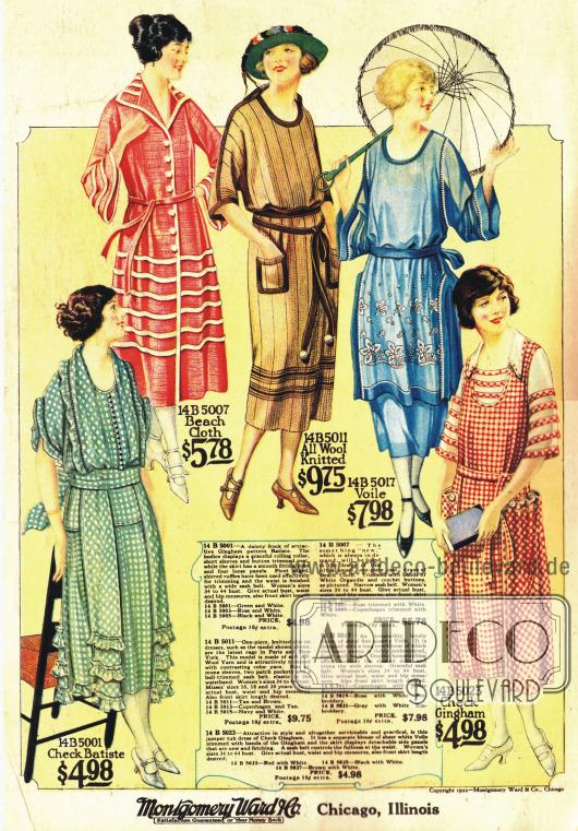 Sommerkleider aus Gingham und anderen Wollstoffen.