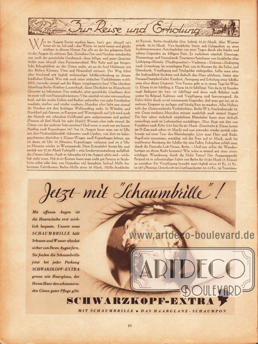 """Artikel:Parsen, Peter, Zur Reise und Erholung.Werbung:""""Jetzt mit 'Schaumbrille'!"""" Schwarzkopf-Extra, das Haarglanz-Schaumpon (Shampoo)."""