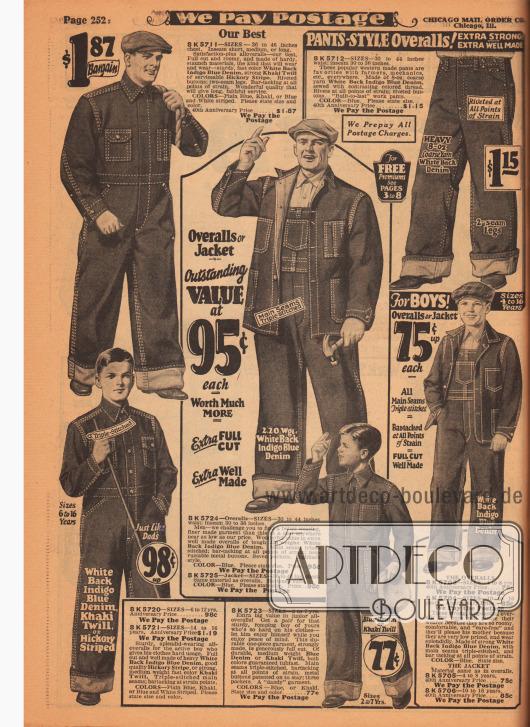 Arbeitskleidung für Männer und Jungen von 4 bis 16 Jahren. Im Angebot sind Overalls, Jacken und Hosen aus Indigo Blue Denim (Jeansstoff) und Khakigewebe. Verstärkte Nähte gewährleisten Belastungsfähigkeit und Langlebigkeit der Arbeitskleidung. Taschen und Brusttaschen für den praktischen Nutzen.