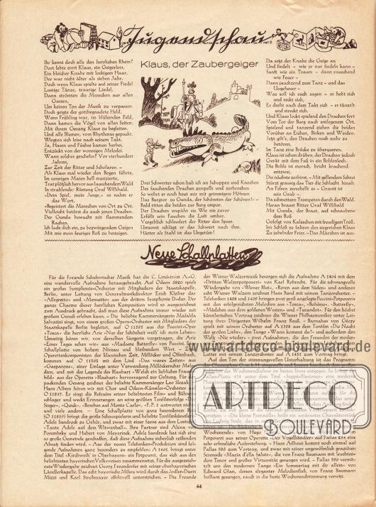 Artikel (Jugendschau): O. V., Klaus, der Zaubergeiger; O. V., Neue Schallplatten.
