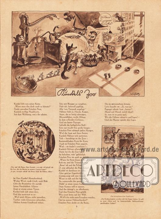 Artikel (Reime): O. V., Kunkels Zoo. Zeichnungen/Illustrationen: Hans Kossatz (1901-1985).