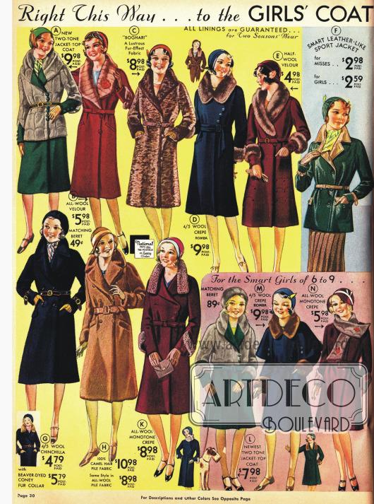 Mäntel in der neuen Mode für Mädchen.
