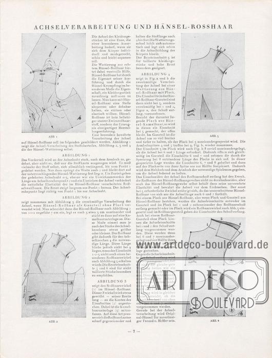 Artikel: Henschke, Bruno, Achselverarbeitung und Hänsel-Rosshaar.  Der Beitrag wird von vier genauen Zeichnungen ergänzt, die den Zuschnitt des Hänselstoffs und die akkurate Herstellung einer Sakko-Achsel vormachen. Illustration/Zeichnung: Hänsel-Echo.
