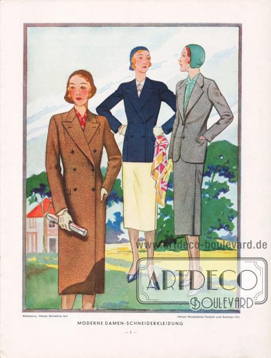 """""""Moderne Damen-Schneiderkleidung"""": Ein zweireihiger Frühjahrsmantel für die Dame sowie zwei Kostüme in unterschiedlicher Manier. Zeichnung: Harald Schwerdtfeger."""
