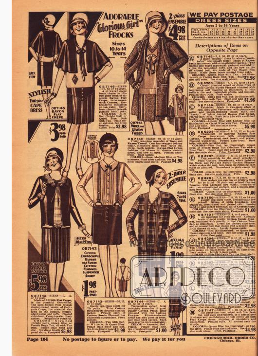 Kleider und Ensembles für Mädchen zwischen 7 und 14 Jahren. Oben links wird ein Kleid mit Cape aus Rayon Krepp und Baumwolle gezeigt. Es folgt ein Ensemble aus Wolle und Rayon-Tweed sowie Rayon Krepp, unten links ein Kleid aus Seiden Krepp, dann ein einfaches Sportensemble aus Baumwoll-Breitgewebe und Baumwoll-Flanell und schließlich ein zweiteiliges Ensemble aus karierter Baumwolle.