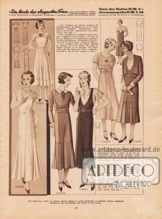 5211: Tanzkleid aus hellrosa Georgette mit Bindlochstickerei, für Mädchen von 14 bis 16 Jahren. Hellblaue Chiffonblüte. 5212: Abendkleid aus hellblauem Crêpe Georgette f. Mädchen von 14 bis 16 Jahren. Die Taille ist mit der Hüftpasse im Zusammenhang geschnitten. Zierlicher Rüschenbesatz. Glockenrock. 5213: Einfaches Kleid aus grünem Wollstoff für Mädchen von 14 bis 16 Jahren. Die gelbe gehäkelte Garnitur ist rot berandet. Ein Faltenansatz gibt dem Rock mehr Weite. 5214: Kleidsamer Blusenanzug: Trägerrock aus marineblauem Wollstoff, Unterziehbluse aus bleufarbenem Crêpe de Chine, an der die angeschnittenen Ärmel glockig ausfallen. Schnitt für Mädchen von 14 bis 16 Jahren. 5215: Backfischkleid aus gelbem Voile mit buntfarbig gesticktem Motiv. Hierzu passend der bestickte Bolero aus Leinen. Schnitt für Mädchen von 14 bis 16 Jahren. 5216: Ensemble aus rotem Wollstoff für Mädchen von 14 bis 16 Jahren. Kleid mit weißer poröser Passe und Puffärmeln. An den Boleroärmeln weiße Aufschläge. Das weiße Material ist mit roten Fäden durchzogen.