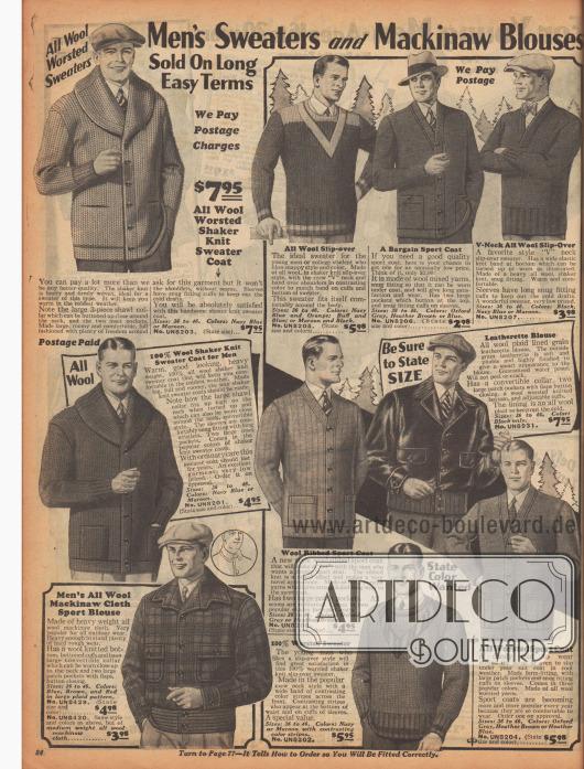 """""""Pullover und Mackinaw Jacken für Männer. Verkauft zu langfristigen, günstigen Kreditkonditionen"""" (engl. """"Men's Sweaters and Mackinaw Blouses. Sold on On Long Easy Terms""""). Strickjacken (Cadigans), Strickpullover aus dicken Wollstoffen für kalte Wintertage in der freien Natur oder für Outdoor-Sport. Viele Strickjacken besitzen auf- oder eingearbeitete Taschen. Des Weiteren werden auf dieser Seite auch eine Lederjacke mit konvertierbarem Kragen und mit Woll-Futter sowie eine Mackinaw-Jacke aus karierter, wasserabweisender Mackinaw-Wolle in schwerer Qualität mit gestricktem Woll-Bündchen angeboten."""