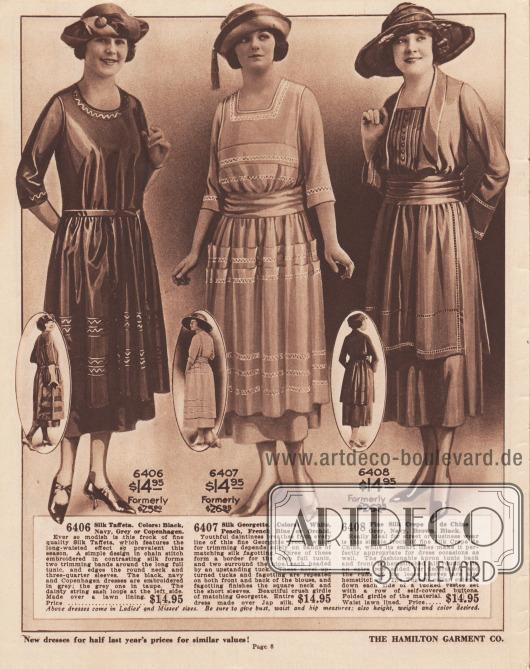 6406: Seiden-Taft. Farben: Schwarz, Marineblau, Grau oder Kopenhagen. Sehr modisch ist dieses Kleid aus feinem Seiden-Taft, welches die in dieser Saison so beliebte verlängerte Taillenlinie aufweist. Ein schlichtes, in kontrastierender Seide gesticktes Kettenstichmuster bildet zwei Borten um die lange, weite Tunika und säumt den Rundhalsausschnitt und die Dreiviertelärmel. Die Kleider in Schwarz, Marineblau und Kopenhagen sind in Grau bestickt, das Modell in Grau in Maulwurfsgrau. Der zierliche Bandgürtel wird an der linken Seite geschlungen. Gearbeitet mit einem Futter aus Batist. Ehemals 25,00 $. Preis… 14,95 $. 6407: Seiden-Georgette. Farben: Weiß, Pfirsich, Französisch Blau oder Orchidee. Jugendliche Anmut atmet aus jeder Linie dieses feinen Georgette-Kleides, das für den Besatz nur auf Bänder aus passendem Hohlsaumnähten aus Seide angewiesen ist. Drei dieser Bänder bilden eine Umrandung für die tiefe, ausgestellte Tunika. Zwei umgeben die Hüften, jeweils mit einer abstehenden Biese an der Spitze. Diese neuartigen, nach oben gerichteten Biesen und Hohlsäume wiederholen sich auf der Vorder- und Rückseite der Bluse. Hohlsaumnähte schließen zudem den quadratischen Halsausschnitt und die kurzen Ärmel ab. Schöner, breiter, gekräuselter Bandgürtel aus passendem Georgette. Das gesamte Kleid ist aus japanischer Seide hergestellt. Ehemals 26,95 $. … 14,95 $. 6408: Feiner Seiden-Crêpe de Chine. Grau, Marineblau, Braun, Schwarz. Dieses schlichte Kleid aus feinem Seiden-Crêpe de Chine ist ideal für die Straße oder das Geschäft, eignet sich aber aufgrund seiner eleganten Linienführung auch hervorragend für festliche Anlässe. Die modische Schürzentunika ist hinten und vorne mit einem umlaufenden Hohlsaum und einer zusätzlichen Zierreihe versehen. Auch die Manschetten der weiten Ärmel sind mit einem Hohlsaum versehen. Der Smoking-Kragen erstreckt sich auf jeder Seite des mit Biesen gearbeiteten Westeneinsatzes. Die Knöpfe der Knopfleiste sind mit Stoffmaterial bezogen. Gefalte