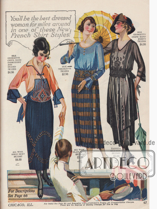 Aufeinander abgestimmte Röcke und Blusen mit Stickereien, Perlen oder auch Zierknöpfen. Die Röcke sind aus Woll-Serge, reiner Wolle und Seiden-Taft. Die Blusen bestehen aus Seiden-Georgette Krepp und reiner Seide.