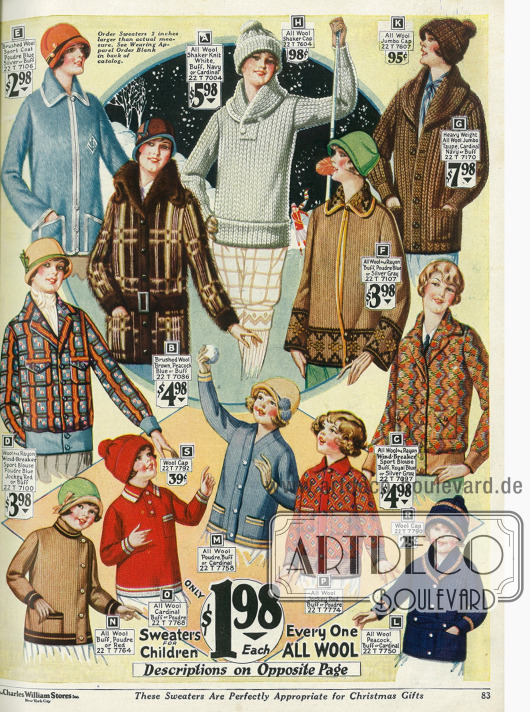 Für den Wintersport: Sportblusen, Pullover und Strickjacken mit passenden Wollmützen für Damen und kleine Mädchen aus Wollstoffen.