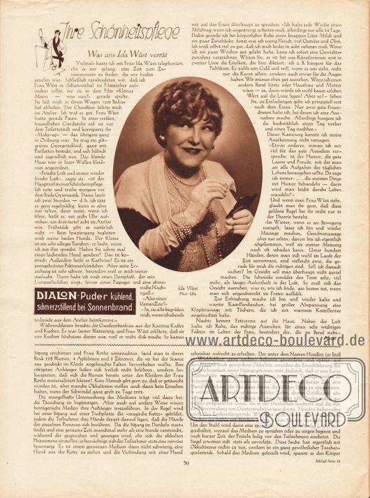 Artikel:Alice, Ihre Schönheitspflege. Was uns Ida Wüst verrät&#x3B;Runge, Dr. Otto, Entlarvte Medien.Mit einem Foto der deutschen Filmschauspielerin Ida Wüst (1884-1958), Foto: Ufa.Werbung:Dialon-Puder.
