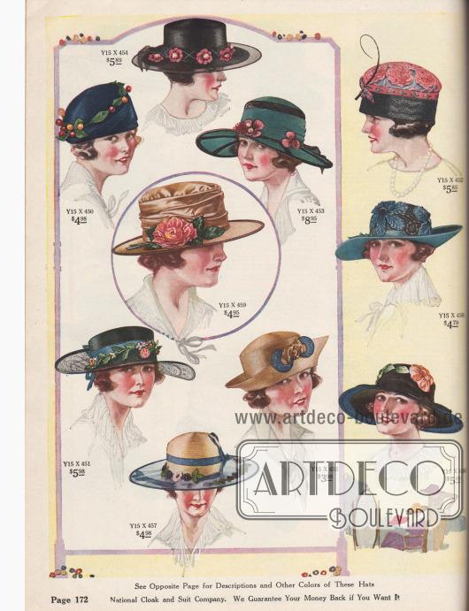 """Zehn elegante und kleidsame Damenhüte aus Glanzstroh, Milan Hanfgeflecht, französischem Krepp, Seiden-Georgette Krepp, """"Chip Straw"""" (Geflecht aus weichem Holz) oder schimmerndem Satin. Unter den Hutmodellen befinden sich acht Hüte mit breiten oder sehr breiten Krempen, wobei diese entweder völlig gerade, geschwunden, schutenartig gebogen oder vorne am Hutkopf mit Zierrat befestigt sind (engl. """"off-the-face"""" Effekt). Ein Hut mit transparenter Krempe aus Chiffon. Des Weiteren ein Turban und ein Modell, das eine Mischung aus Schottenmütze und Turban darstellt. Als Aufputz dienen Ripsbänder mit Schleifen, gebogene Kiele, große und kleine Kunstblüten, steife Borten für die Hutränder, Gebinde und Zweige mit Blattwerk, Samtblumen oder Beeren sowie Ornamente aus Stroh."""