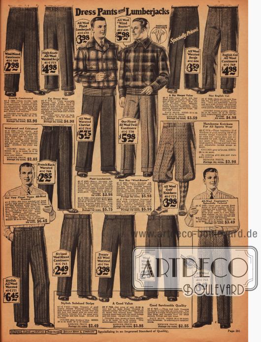 Hosen mit breit geschnittenen Hosenbeinen aus Wolle, Kaschmir, Serge und Cheviot.Des Weiteren werden zwei Holzfällerjacken aus Wollstoff und eine Knickerbockerhose für den Sport angeboten.