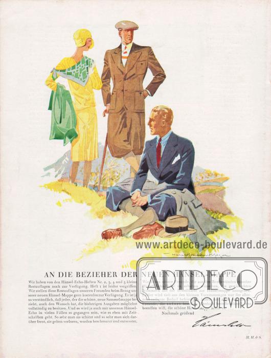 Artikel: Henschke, Bruno, An die Bezieher der neuen Hänsel-Mappe.  Für den Sport kommt nur der Knickerbocker-Anzug (Plusfour-Anzug) in Frage. Die Grundlinie der Jacke entspricht dem des Sakkos, ist aber sportmäßig bequemer und zweckdienlicher gearbeitet. Im Rücken eingearbeitete Falten springen aus und geben jeder Bewegung Raum. Große Taschen werden dem Sportsakko aufgearbeitet. Zeichnung/Illustration: Harald Schwerdtfeger (1888-1956).