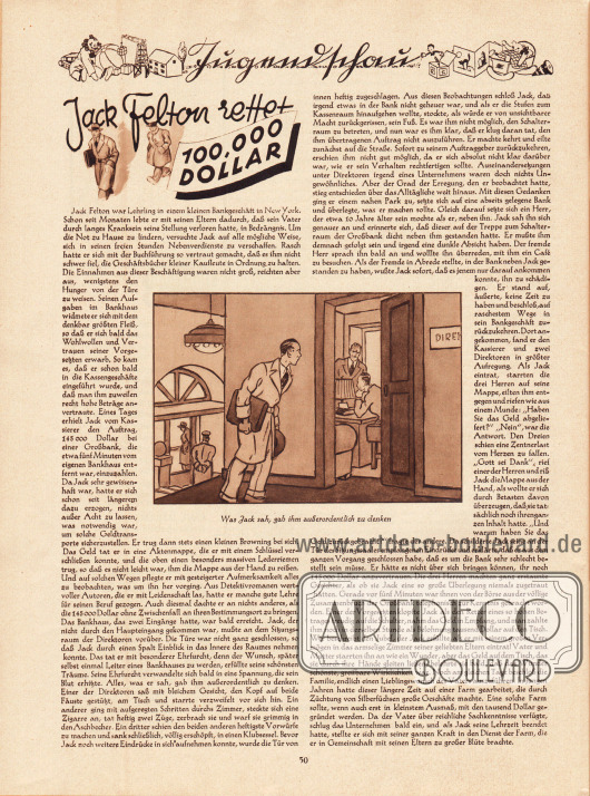 Artikel (Jugendschau):O. V., Jack Felton rettet 100.000 Dollar.