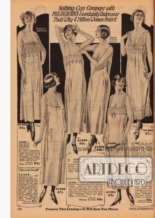 """Unterwäsche (Unterröcke) der Marke """"Everdainty"""" für Frauen aus Musselin oder Satin. Die Säume und Oberteile sind schön bestickt."""