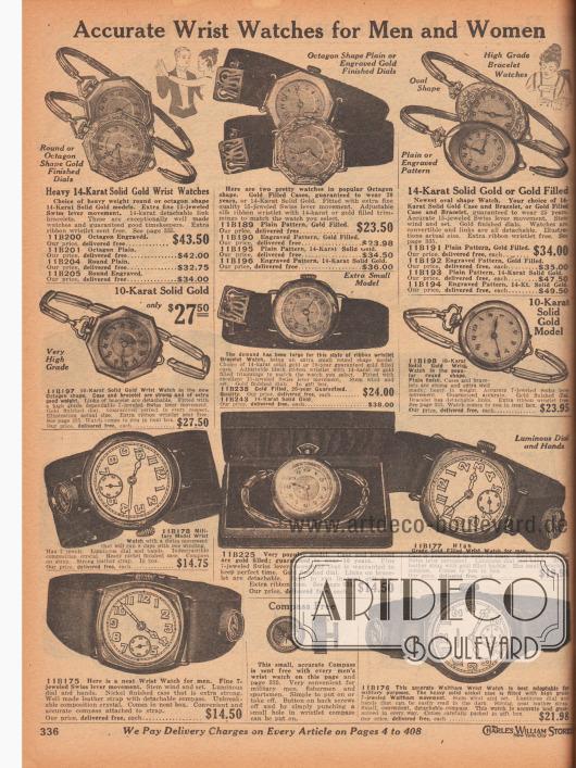 """""""Präzise Armbanduhren für Männer und Frauen"""" (engl. """"Accurate Wrist Watches for Men and Women""""). Die Armbanduhren für Damen sind anhand der feinen Armbänder auszumachen, die Armbanduhren der Herren sind mit einem breiten Armband ausgestattet. Die Gehäuse der Uhren sind erhältlich in den Formen oval, rund oder oktogonal (achteckig), einige sind ornamental graviert. Bei einzelnen Uhren leuchten die Zifferblätter und Zeiger im Dunkeln. Die Modelle werden mit bis zu 25 Jahren Garantie angeboten. Alle Armbanduhren für Herren auf dieser Seite werden mit einem kostenlosen Kompass geliefert (siehe Unten)."""