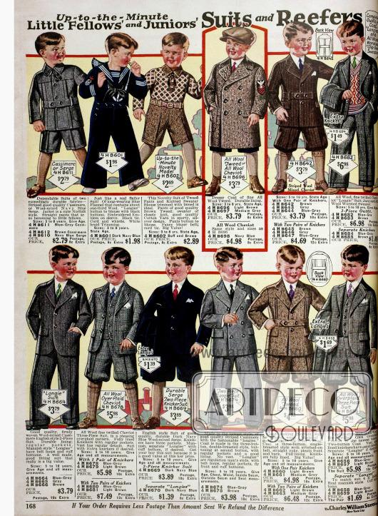 Anzüge für kleine Jungen bis 8 Jahre mit größtenteils kurzen Kniebundhosen und ein Matrosenanzug aus Flanell. Unten Anzüge für Jungen bis 10 Jahre. Sämtliche Anzüge sind Wollstoffen, wie Kaschmir, Cheviot oder Serge.