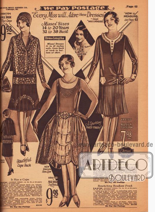 """""""'Jedes Fräulein wird diese Kleider lieben' – sagt 'Miss Universe' [1928], Ella Van Hueson"""" (""""'Every Miss will Adore these Dresses' – Says 'Miss Universe' [1928], Ella Van Hueson""""). Zwei elegante Tageskleider und ein mondänes Ball- und Tanzkleid für junge Frauen im Alter von 14 bis 20 Jahre. Die Tageskleider sind aus bedrucktem und unifarbenem Seiden Krepp. Das erste Modell besitzt einen tiefgehenden Cape Kragen im Rücken und eine Bandgarnitur am Ausschnitt. Rock mit Kellerfalten. Das zweite Tageskleid zeigt eine feine Plisseerüsche als Kragen und einen Westeneinsatz mit Knöpfen. Rock mit feinem Schmetterlingsplissee. Das ärmellose Ballkleid zeigt den für Stilkleider typischen weiten Rock und einen bogigen Saum. Die Weite wird durch verborgene Korsettknochen (leichte Geflügelknochen, engl. """"featherbones"""") erzielt. Ausschnitt und Rock mit aufwendigen Stickereien und Strasssteinen. Vorne mehrere Lagen aus Spitze. Kunstblumen und Blätter verdecken die Gürtellinie."""