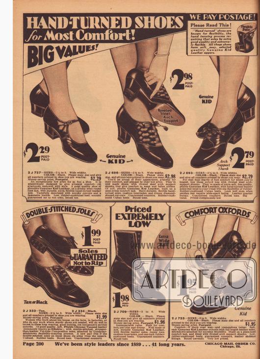 """""""Flexible, handweiche Schuhe mit größtem Komfort! Große Werte! Wir zahlen das Porto!"""" (engl. """"Hand-Turned Shoes for Most Comfort! Big Values! We Pay Postage!""""). Bequeme Schnallenschuhe, Oxfords, Sport-Oxfords im konservativen Stil mit flachem Absatz und eine Stiefelette aus sehr weichem und biegsamem Chevreauleder (Ziegenleder) oder chromgegerbtem Hirschleder für junge Frauen und Damen. Die oberen Modelle besitzen niedrige Absätze oder etwas höhere Kubanische Absätze. Alle Damenschuhe sind nur in Schwarz erhältlich."""