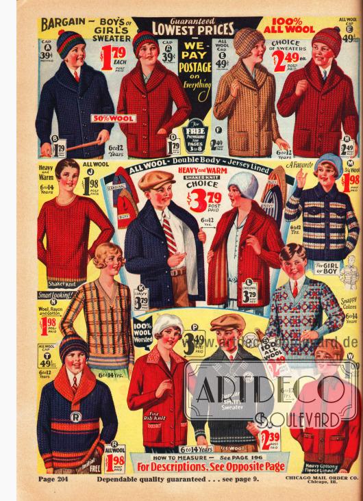 Stricksachen, wie Cardigans (Strickjacken), Pullover und Wollmützen, für 6 bis 14-jährige Jungen und Mädchen. Alle Kleidungsstücke sind entweder aus reiner Wolle oder aus Woll-Baumwoll-Mischstoffen.