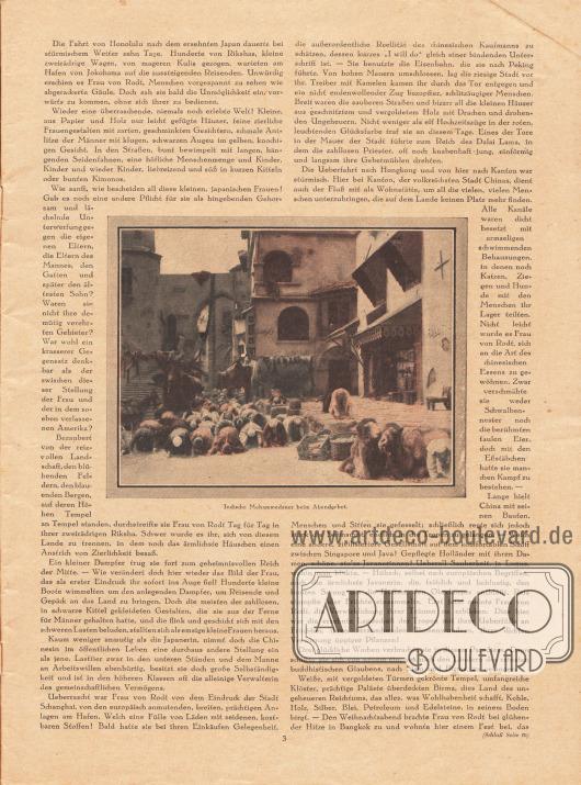 """Artikel:Liebmann, Margarete, Weltreise einer Schweizerin vor dreißig Jahren.Die Fotografie im Zentrum der Seite hat die Bildunterschrift """"Indische Mohammedaner beim Abendgebet"""".Foto: Cäcilie von Rodt (1855-1929)."""