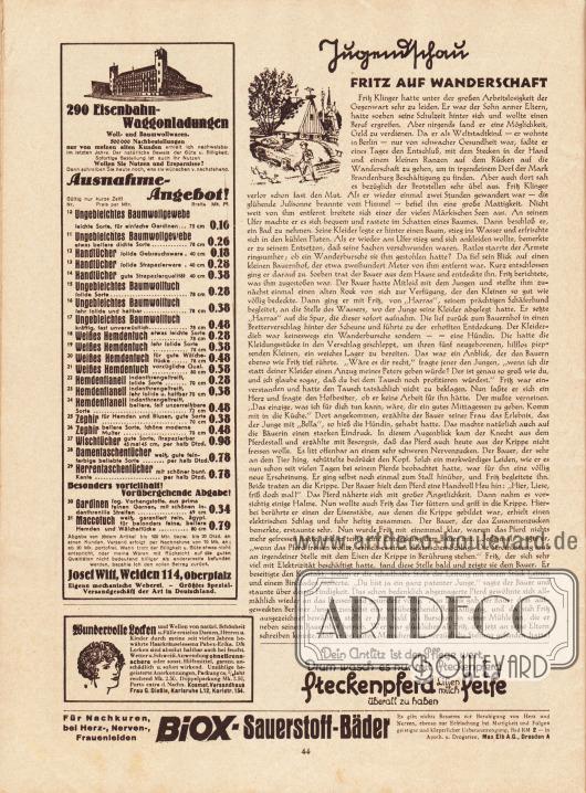 """Artikel (Jugendschau): O. V., Fritz auf Wanderschaft.  Werbung: Josef Witt, Weiden 114, Oberpfalz, größtes Spezial-Versandgeschäft der Art in Deutschland; """"Wundervolle Locken und Wellen"""", Pabex-Erika, Kosmet. Versandhaus Frau G. Dießle, Karlsruhe L 12, Karlstr. 154; """"Dein Antlitz ist der Pflege wert, Drum wasch es nur mit Steckenpferd"""", Steckenpferd Lilienmilch Seife, überall zu haben; """"Für Nachkuren, bei Herz-, Nerven-, Frauenleiden"""", Biox-Sauerstoff-Bäder, Max Elb A. G., Dresden A."""