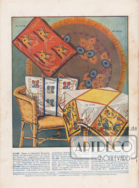 Zwei Vorschläge für Kissenstickereien mit stilisierten Blütenmotiven. Eine runde Decke (1 m Durchmesser) mit Woll- und Seidenstickerei. Seidenfransen bilden den Abschluss. Mit Kreuzstickerei verzierte Tischdecke (120 x 120 cm) mit Borte und Häkelabschluss.