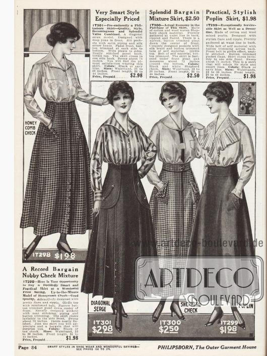 Damenröcke aus kariertem Baumwoll-Woll Mischstoffen, Serge mit diagonaler Oberflächenstruktur und Popelin. Auffällig sind die stets schräg aber immer einfallsreich eingesetzten Taschen und die Knopfleisten im unteren Rockbereich.