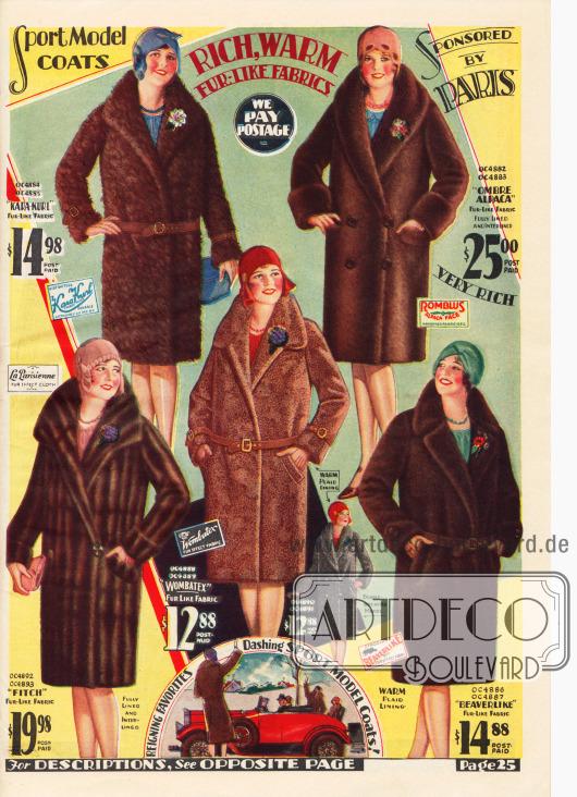 Damenmäntel aus pelzähnlichen Materialien wie Wolle oder Alpaka zu Preisen zwischen 12,88 und 25 Dollar. Jeder Mantel wird auch mit einer kostenlosen Ansteckblume aus Stoff geliefert. Alle Erklärungen stehen auf der gegenüberliegenden Seite.