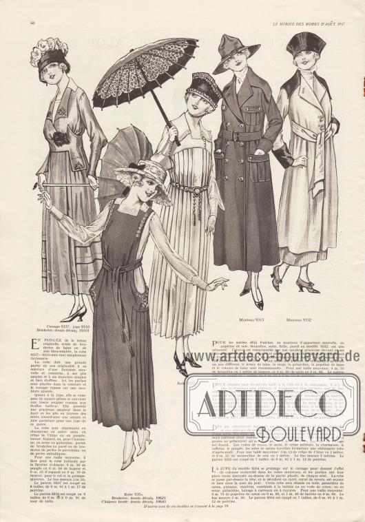 """9337, 9310 & 10101: Bluse und Rock in farblicher Abstimmung. Die Bluse zeigt Stickereien, leicht gepuffte Ellenbogen und enganliegende Manschetten mit Knöpfen. Der Rock zeigt ein vorne durchgehendes Frontpaneel mit seitlichem Plissee. Charmeuse, Satinstoffe, Crêpe de Chine, Pongee, Tussor-Seide oder Foulard bieten sich als Stoffe für leichte Versionen des Kleides an. Für ein Herbstkleid sind Serge oder Gabardine geeignet. 9354, 10621 & 10643: Leibchenrock mit tiefen seitlichen Ausschnitten, beidseitigen Plisseeeinsätzen, Stickerei und Knopfverzierung. Zur Herstellung dieses Modells empfehlen sich Leinen, Baumwoll-Gabardine, Gingham und karierte oder gestreifte Wollgewebe. 9333: Elegantes Nachmittagskleid mit fantasievoll gestalteten Ärmeln, einem mit schmaler Rüsche besetzten Kragen und einem rundum plissierten Rockteil ausgehend von der Passe mit Metallgürtel. Baumwoll-Schleierstoff (Voile), Satin, Crêpe Meteor, Charmeuse, Taft, Pongee sowie Waschseiden oder Waschsatins werden für dieses Modell empfohlen. 9315: Doppelreihiger militärischer Damenmantel mit vier Taschen, breitem Kragen und Gürtel. Zum Schneidern des Mantels eignen sich gängige Gewebe zur Herstellung von Uniformen, Wollsamt, gemusterte Wollgewebe, Serge, Gabardine, Homespun oder """"covert-coating"""" (wetterfester Stoff mit Mäntel). 9332: Neuartiger Übergangsmantel für die ersten frischen Abende aus Seiden-Popeline, Bengalin Satin oder Faille Seide. Breiter Kragen und Ärmelaufschläge aus dunkel abstechendem Material. Für Diejenigen, die ein besonderes Kleidungsstück wollen bieten sich die Verwendung von Woll-Jersey, Serge, Gabardine, Woll-Popeline oder auch Wollsamt an."""